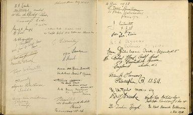 "<em>""Maurice Nahman visitor book (1918-1977). Signature page.""</em>. Manuscript. Brooklyn Museum. (Photo: Brooklyn Museum, N362_N14_Nahman_visitor_book_p61-62.jpg"