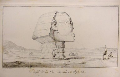 "<em>""F.L. Norden. Travels in Egypt and Nubia, 1757. Plate 47, Profil de la tête colossale du Sphinx.""</em>, 1757. Printed material. Brooklyn Museum. (N370.405_N75t_Norden_Travels_pl47_Sphinx_profile.jpg"