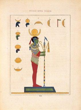 "<em>""Pooh, Phoh, Loh (Lunus, le dieu-Lune, Sélène""</em>, 1823-25. Printed material. Brooklyn Museum. (N372.2_C35_Champollion_pl14A_SL1.jpg"