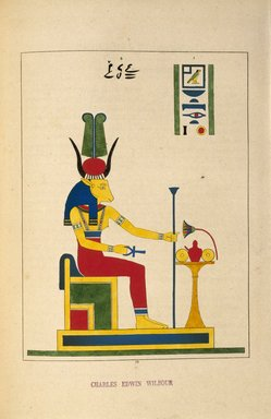 "<em>""Hathôr ou Ahtôr (Atar, Athyr, Aphrodite, Vénus)""</em>, 1823-25. Printed material. Brooklyn Museum. (N372.2_C35_Champollion_pl18_SL1.jpg"