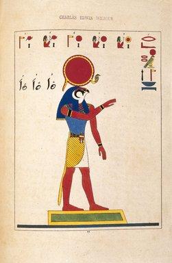 """<em>""""Ré, Ri, Pré. Phré ou Phri (Helios, Le Soleil)""""</em>, 1823-25. Printed material. Brooklyn Museum. (N372.2_C35_Champollion_pl24_SL1.jpg"""