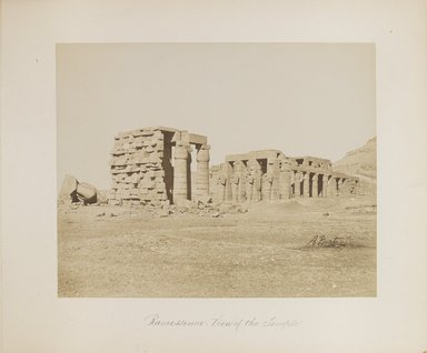 "<em>""Ramesseum: View of the Temple""</em>. Printed material. Brooklyn Museum. (Photo: Brooklyn Museum, N376_B14_Beato_vol1_pl02_PS4.jpg"
