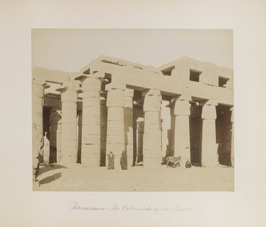 "<em>""Ramesseum: The Colonnade of the Temple""</em>. Printed material. Brooklyn Museum. (Photo: Brooklyn Museum, N376_B14_Beato_vol1_pl03_PS4.jpg"