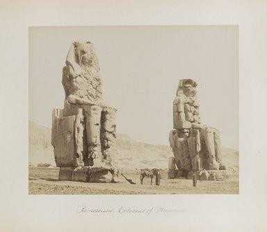 "<em>""Ramesseum: Colossus of Memnon""</em>. Printed material. Brooklyn Museum. (Photo: Brooklyn Museum, N376_B14_Beato_vol1_pl13_PS4.jpg"