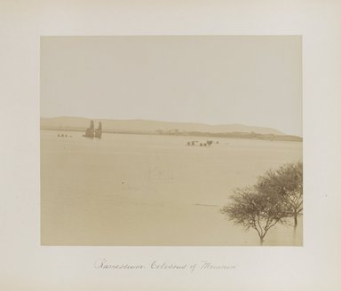 "<em>""Ramesseum: Colossus of Memnon""</em>. Printed material. Brooklyn Museum. (Photo: Brooklyn Museum, N376_B14_Beato_vol1_pl14_PS4.jpg"