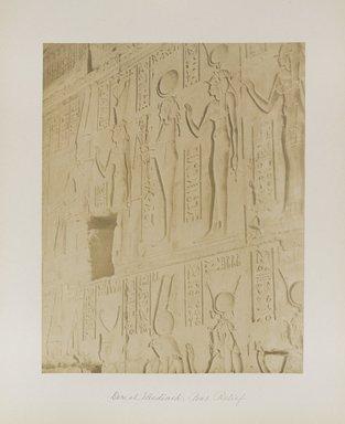 "<em>""Der el Medineh: Bas Relief""</em>. Printed material. Brooklyn Museum. (Photo: Brooklyn Museum, N376_B14_Beato_vol1_pl19_PS4.jpg"