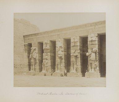 "<em>""Medinet Habu: The Statues of Osiris""</em>. Printed material. Brooklyn Museum. (Photo: Brooklyn Museum, N376_B14_Beato_vol1_pl20_PS4.jpg"
