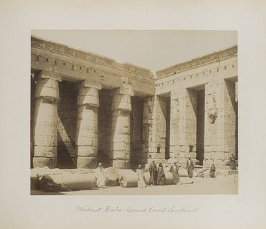 "<em>""Medinet Habu: Second Court Southwest""</em>. Printed material. Brooklyn Museum. (Photo: Brooklyn Museum, N376_B14_Beato_vol1_pl23_PS4.jpg"