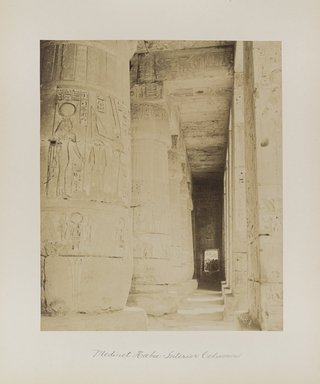 "<em>""Medinet Habu: Interior Columns""</em>. Printed material. Brooklyn Museum. (Photo: Brooklyn Museum, N376_B14_Beato_vol1_pl26_PS4.jpg"