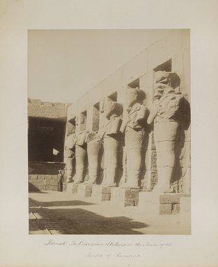 "<em>""Karnak: The Osirisian Statues in the Tower of the Temple of Ramses II""</em>. Printed material. Brooklyn Museum. (Photo: Brooklyn Museum, N376_B14_Beato_vol2_pl02_PS4.jpg"