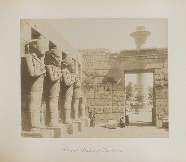 "<em>""Karnak: Statues of Ramses II""</em>. Printed material. Brooklyn Museum. (Photo: Brooklyn Museum, N376_B14_Beato_vol2_pl03_PS4.jpg"