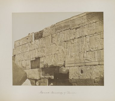 "<em>""Karnak: Genealogy of Ramses""</em>. Printed material. Brooklyn Museum. (Photo: Brooklyn Museum, N376_B14_Beato_vol2_pl06_PS4.jpg"