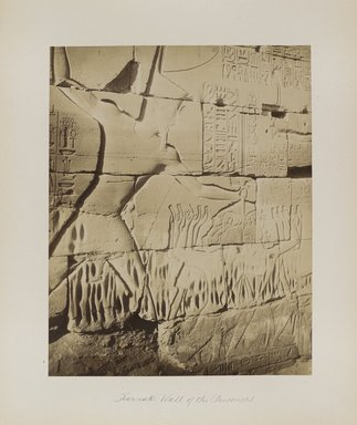 "<em>""Karnak: Wall of the Prisoners""</em>. Printed material. Brooklyn Museum. (Photo: Brooklyn Museum, N376_B14_Beato_vol2_pl08_PS4.jpg"
