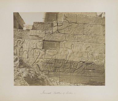 "<em>""Karnak: Battles of Sethos I""</em>. Printed material. Brooklyn Museum. (Photo: Brooklyn Museum, N376_B14_Beato_vol2_pl09_PS4.jpg"