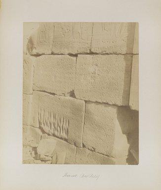 "<em>""Karnak: Bas Relief""</em>. Printed material. Brooklyn Museum. (Photo: Brooklyn Museum, N376_B14_Beato_vol2_pl14_PS4.jpg"