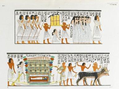 "<em>""Accompagnemento di una mummia al sepolcro. -- Il dio Anubi presta gli ultimi uffizi a un defunto.""</em>. Born digital. Brooklyn Museum. (Photo: Brooklyn Museum, N378_R72_SCR_Rosellini_Monumenti_v2_plCXXVIII_PS2.jpg"