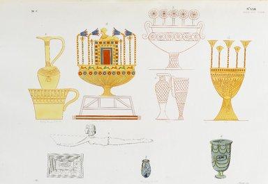 """<em>""""Vasi d'oro, di smalto, e di varie altre materie, figurati nelle tombe tebane.""""</em>. Born digital. Brooklyn Museum. (Photo: Brooklyn Museum, N378_R72_SCR_Rosellini_Monumenti_v2_plLXII_PS2.jpg"""