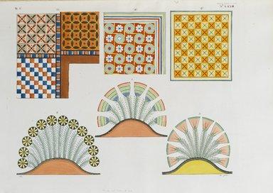 """<em>""""Saggi delle pitture e ornamenti, che decorano le volte, o i soffitti delle tombe e delle case egiziane.""""</em>. Born digital. Brooklyn Museum. (Photo: Brooklyn Museum, N378_R72_SCR_Rosellini_Monumenti_v2_plLXXIII_PS2.jpg"""