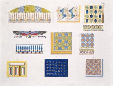 """<em>""""Saggi delle pitture e ornamenti, che decorano le volte, o i soffitti delle tombe e delle case egiziane.""""</em>. Color transparency, 4x5in. Brooklyn Museum. (Photo: Brooklyn Museum, N378_R72_SCR_Rosellini_Monumenti_v2_plLXX_SL1.jpg"""