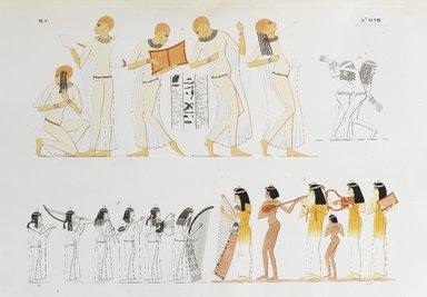 """<em>""""Danzatrici al suono del cembalo: suoui di varj strumenti da corda e da fiato.""""</em>. Born digital. Brooklyn Museum. (Photo: Brooklyn Museum, N378_R72_SCR_Rosellini_Monumenti_v2_plXCVIII_PS2.jpg"""
