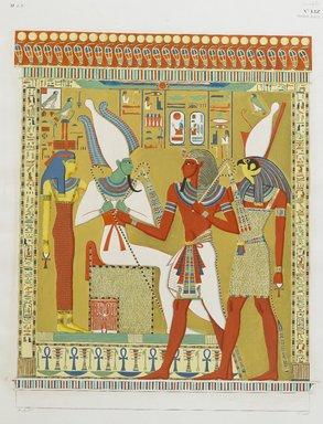 """<em>""""Gran bassorilievo della tombe di Menphtah I, rapprentatante il Faraone guidato del dio Horus al cospetto do Osiride e di Athyr infernali.""""</em>. Born digital. Brooklyn Museum. (Photo: Brooklyn Museum, N378_R72_SCR_Rosellini_Monumenti_v3_plLIX_PS2.jpg"""