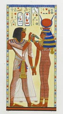 "<em>""Bassorilievo della tombe di Menphtah I:  il re ammesso a toccare le mistica collana di Athyr.""</em>. Born digital. Brooklyn Museum. (Photo: Brooklyn Museum, N378_R72_SCR_Rosellini_Monumenti_v3_plLVIII_PS2.jpg"