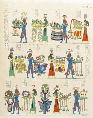 "<em>""Offerta del Nili e delle Regioni: cuadri tratti dalla tombe di Ramses Meinmun a Biban-al -Moluk.""</em>. Born digital. Brooklyn Museum. (Photo: Brooklyn Museum, N378_R72_SCR_Rosellini_Monumenti_v3_plLXXIV_PS2.jpg"