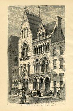"""<em>""""Brooklyn Art Association building.""""</em>, 1872. Engraving, 7 x 9in (18cm x 23cm). Brooklyn Museum, BAA1872. (N858_Un3_B78_1872b_001.jpg"""