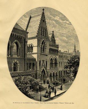 """<em>""""Brooklyn Art Association building.""""</em>, 1872. Engraving, 7 x 9in (18cm x 23cm). Brooklyn Museum, BAA1872. (N858_Un3_B78_1872b_009.jpg"""