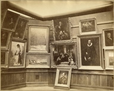 "<em>""Brooklyn Art Association, first chronological exhibition of American art [March 1872]. Installation view 13.""</em>, 1872. Bw photograph (original print), 9 x 7in (23 x 18cm). Brooklyn Museum, BAA1872. (N858_Un3_B78_1872b_015.jpg"