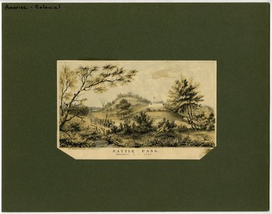 "<em>""Battle Pass, Brooklyn L.I. 1766. Lithograph by Hayward and Lepine, 171 Pearl St, NY.""</em>. Printed material, 4.25 x 6.75in (10.8 x  17.15cm). Brooklyn Museum, CHART_2012. (Photo: Hayward and Lepine, NA202_C68_box1_Battle_Pass_lithograph.jpg"