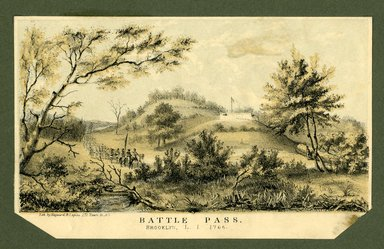 "<em>""Battle Pass,  Brooklyn L.I. 1766. Detail. Lithograph by Hayward and Lepine, 171 Pearl St, NY.""</em>. Printed material, 4.25 x 6.75in (10.8 x  17.15cm). Brooklyn Museum, CHART_2012. (Photo: Hayward and Lepine, NA202_C68_box1_Battle_Pass_lithograph_detail.jpg"