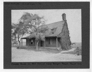 "<em>""Crooke House on Mill Island near Bergen Beach,  built 1656.""</em>. Bw photograph, 9.5 x 7.5in (24.1 x 19.1cm). Brooklyn Museum, CHART_2012. (NA202_C68_box1_Crooke_House.jpg"