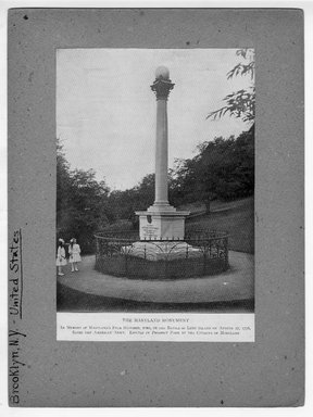 """<em>""""The Maryland Monument,   In Memory of Maryland's Four Hundred, who, in the Battle of Long Island on August 27, 1776, saved the American Army,  Erected in Prospect Park by the Citizens of Maryland.""""</em>. Printed material, 8.5 x 5.75in (21.6 x 14.6cm). Brooklyn Museum, CHART_2012. (NA202_C68_box1_The_Maryland_Monument.jpg"""