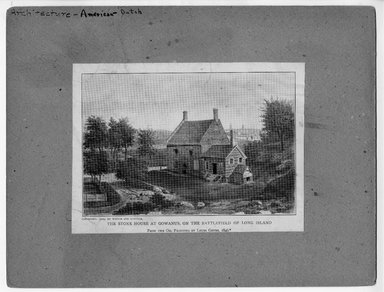 """<em>""""The Stone House at Gowanus on the Battlefield of Long Island  From the oil painting by Louis Grube 1846, copyright 1909 by Witter and Kintner.""""</em>. Printed material, 5.5 x 7.25in (14 x 18.4cm). Brooklyn Museum, CHART_2012. (NA202_C68_box1_The_Stone_House_at_Gowanus_recto.jpg"""