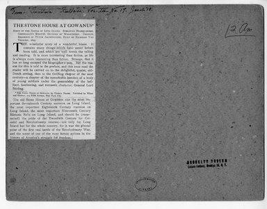 "<em>""From Institute Bulletin, Vol. III No. 17 Jan 1, '10 The Stone House at Gowanus Scene of the Battle of Long Island.""</em>. Printed material, 5.5 x 4in (14 x 10.2cm). Brooklyn Museum, CHART_2012. (NA202_C68_box1_The_Stone_House_at_Gowanus_verso.jpg"