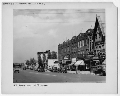 "<em>""4th Avenue and 69th Street.""</em>. Bw photograph, 9.5 x 7.5in (24.1 x 19.1cm). Brooklyn Museum, CHART_2012. (NA202_C68_box2_4th_Avenue_and_69th_Street.jpg"