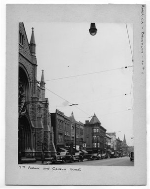 "<em>""7th Avenue and Carroll Street.""</em>. Bw photograph, 9.5 x 7.5in (24.1 x 19.1cm). Brooklyn Museum, CHART_2012. (NA202_C68_box2_7th_Avenue_and_Carroll_Street.jpg"