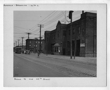 """<em>""""Avenue N and 49th Street.""""</em>. Bw photograph, 9.5 x 7.5in (24.1 x 19.1cm). Brooklyn Museum, CHART_2012. (NA202_C68_box2_Avenue_N.jpg"""