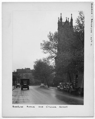 "<em>""Bedford Avenue and Clymer Street.""</em>. Bw photograph, 9.5 x 7.5in (24.1 x 19.1cm). Brooklyn Museum, CHART_2012. (NA202_C68_box2_Bedford_Avenue_and_Clymer_Street.jpg"