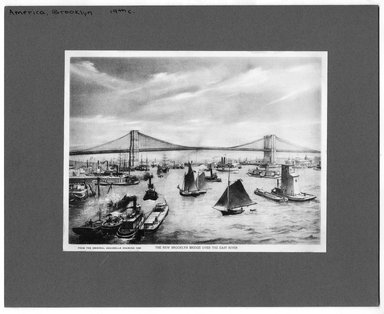 """<em>""""The New Brooklyn Bridge over the East River  from the orginal aquarelle drawing 1885.""""</em>. Printed material, 6.25 x 8.25in (15.9 x 21cm). Brooklyn Museum, CHART_2012. (NA202_C68_box2_Brooklyn_Bridge_East_River.jpg"""