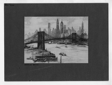 "<em>""Brooklyn Bridge.""</em>. Printed material, 5.25 x 7.25in (13.3 x 18.4cm). Brooklyn Museum, CHART_2012. (NA202_C68_box2_Brooklyn_Bridge_etching.jpg"