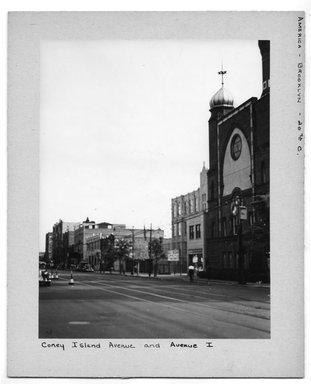"<em>""Coney Island Avenue and Avenue I.""</em>. Bw photograph, 9.5 x 7.5in (24.1 x 19.1cm). Brooklyn Museum, CHART_2012. (NA202_C68_box2_Coney_Island_Avenue_and_Avenue_I.jpg"