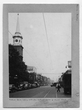 "<em>""Flatbush Avenue, looking north from southwest corner of Church Avenue.""</em>. Bw photograph, 9.5 x 7.5in (24.1 x 19.1cm). Brooklyn Museum, CHART_2012. (NA202_C68_box2_Flatbush_Avenue.jpg"