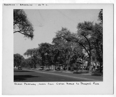 """<em>""""Ocean Parkway  north from Caton Avenue to Prospect Park.""""</em>. Bw photograph, 9.5 x 7.5in (24.1 x 19.1cm). Brooklyn Museum, CHART_2012. (NA202_C68_box2_Ocean_Parkway.jpg"""