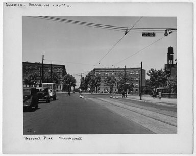 "<em>""Prospect Park Southwest.""</em>. Bw photograph, 9.5 x 7.5in (24.1 x 19.1cm). Brooklyn Museum, CHART_2012. (NA202_C68_box2_Prospect_Park_Southwest.jpg"