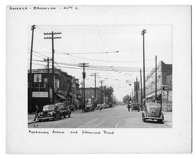 "<em>""Rockaway Avenue and Glenwood Road.""</em>. Bw photograph, 6.5 x 9in (16.5 x 22.9cm). Brooklyn Museum, CHART_2012. (NA202_C68_box2_Rockaway_Avenue_and_Glenwood_Road.jpg"