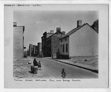 """<em>""""Talman Street between Jay and Bridge Streets.""""</em>. Bw photograph, 9.5 x 7.5in (24.1 x 19.1cm). Brooklyn Museum, CHART_2012. (NA202_C68_box2_Talman_Street.jpg"""