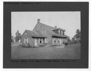 "<em>""Bergen House, East 72 Street, Bergen Beach, built 1655.""</em>. Bw photograph print sepia toned, 6.5 x 9in (16.5 x 22.9cm). Brooklyn Museum, CHART_2012. (NA202_C68_box3_Bergan_House.jpg"