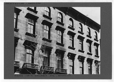 """<em>""""Columbia Heights, Brooklyn.""""</em>. Bw photograph, 9.5 x 7.5in (24.1 x 19.1cm). Brooklyn Museum, CHART_2012. (NA202_C68_box3_Columbia_Heights.jpg"""